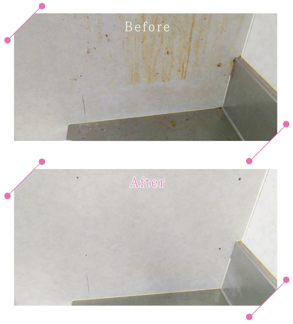 【清掃例】キッチン 壁の油汚れ