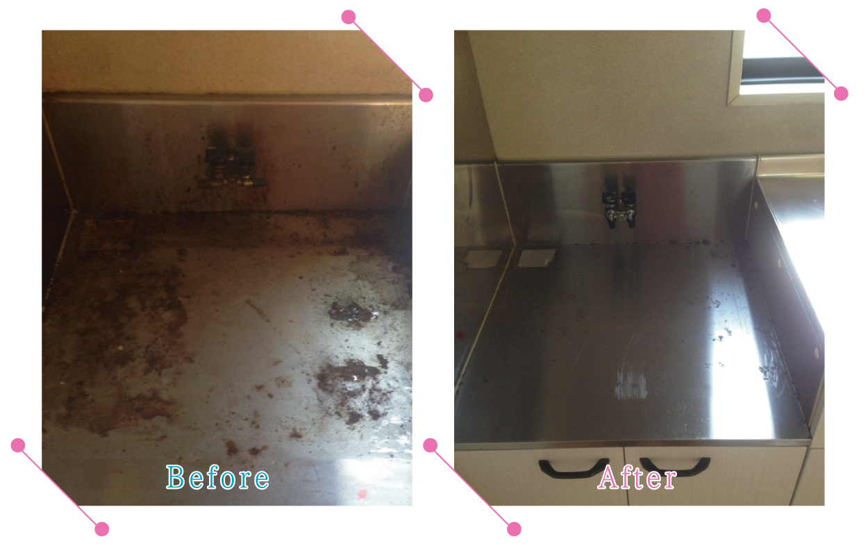 【清掃例】キッチン ガスコンロ下