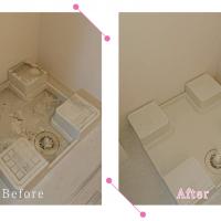 【清掃例】洗濯機下の台・排水口(大分市のハウスクリーニングM&m)