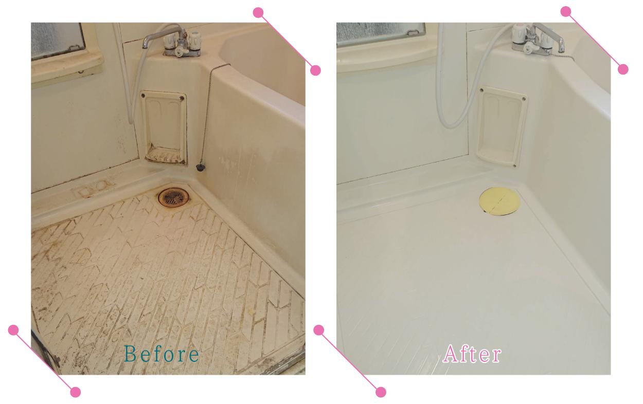 【清掃例】バスルーム床の汚れ(大分市のハウスクリーニングM&m)