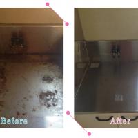 【清掃例】キッチン ガスコンロ下(大分市のハウスクリーニングM&m)
