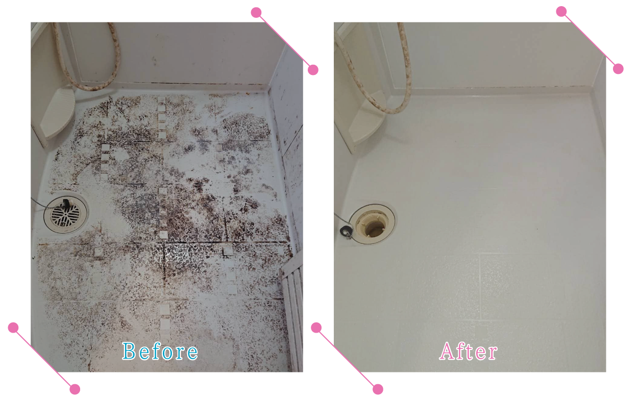 【清掃例】バスルーム床(大分市のハウスクリーニングM&m)