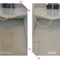 【清掃例】ユニットバス床の汚れ(大分市のハウスクリーニングM&m)